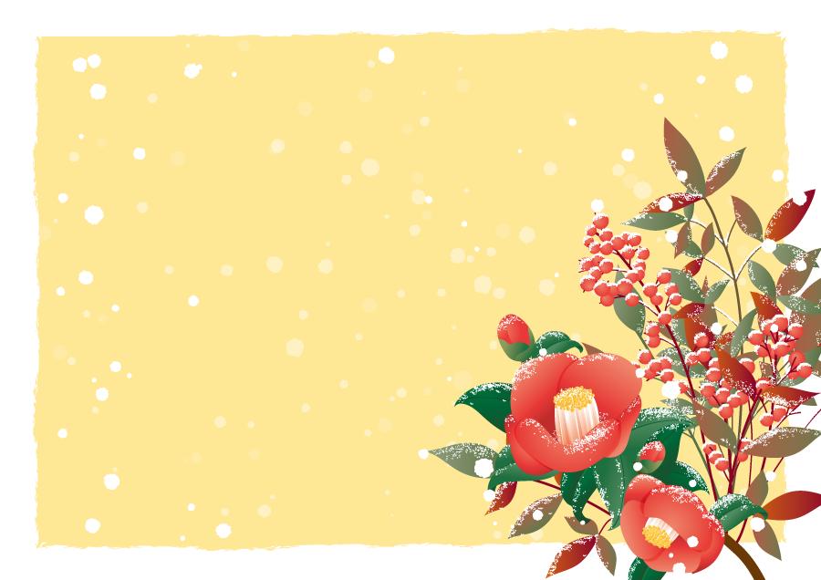 フリーイラスト 椿と南天と雪の飾り枠