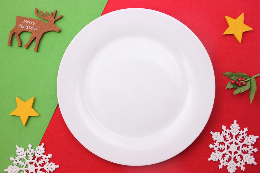 フリー写真 お皿とクリスマスの背景
