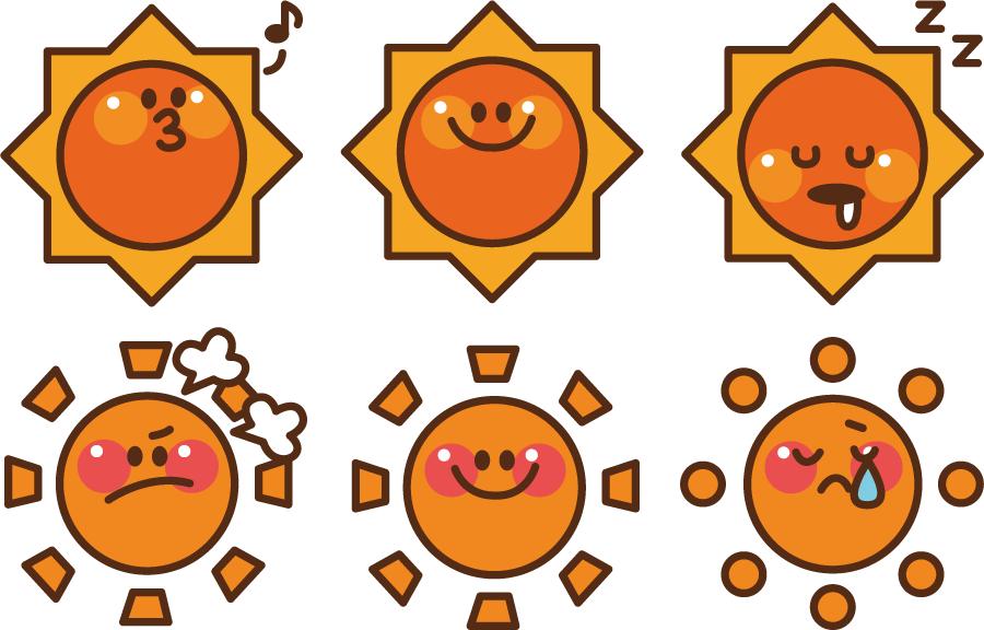 フリーイラスト 6種類の顔のある太陽のセット