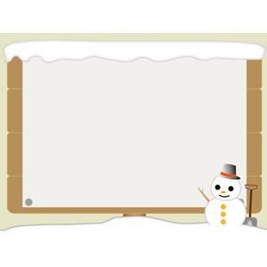 フリーイラスト, ベクター画像, AI, 背景, フレーム, 囲みフレーム, 掲示板, 貼り紙, 雪, 雪だるま, 冬