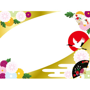 フリーイラスト, ベクター画像, AI, 背景, フレーム, 対角フレーム, 年中行事, 正月, 元旦(元日), 1月, 富士山, 初日の出, 鶴(ツル), 菊(キク), 扇子, 和柄, 日の出