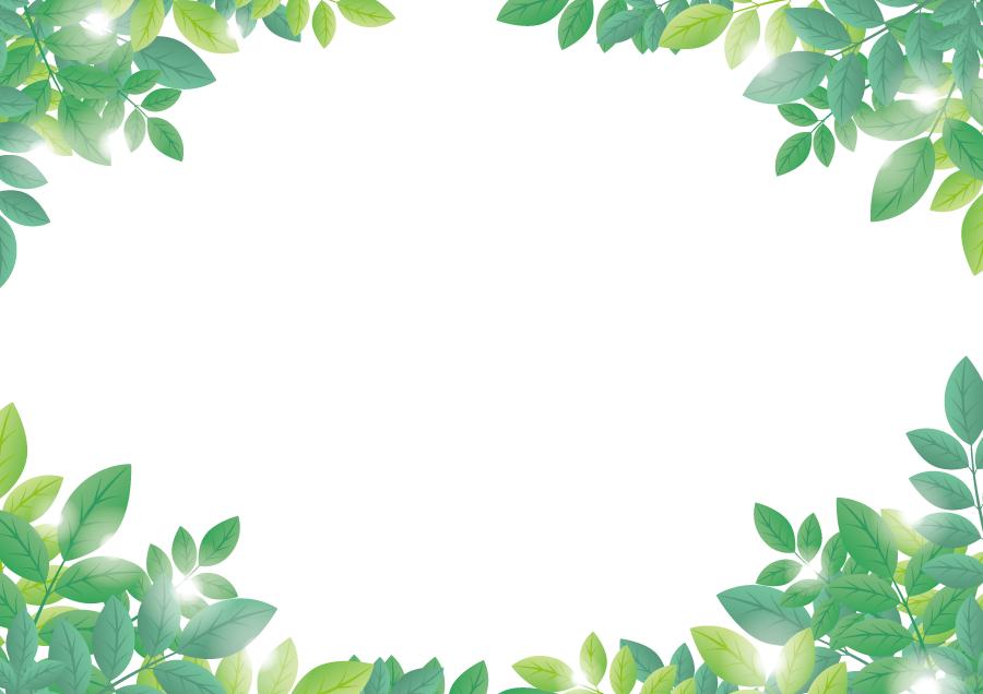 フリーイラスト 新緑の葉っぱの飾り枠