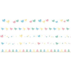 フリーイラスト, ベクター画像, AI, 飾り罫線(ライン), 動物, 鳥類, 鳥(トリ), 小鳥, カラフル
