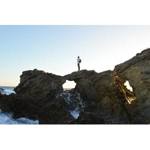 フリー写真, 風景, 海岸, 岩, 波しぶき, 人と風景, アメリカの風景, ロサンゼルス
