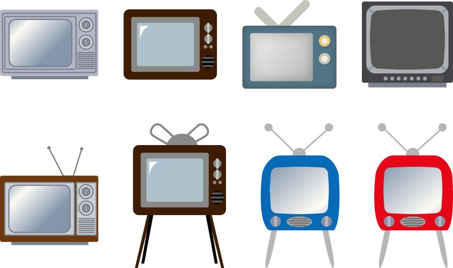 フリーイラスト 8種類のブラウン管テレビのセット