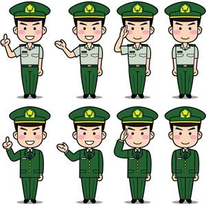 フリーイラスト, ベクター画像, EPS, 人物, 男性, 職業, 仕事, 自衛隊, 自衛隊員(自衛官), ワンポイントアドバイス, 案内する, 敬礼