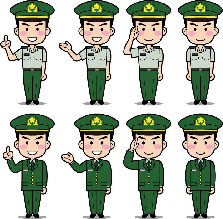 フリーイラスト 8種類の制服姿の男性陸上自衛官のセット