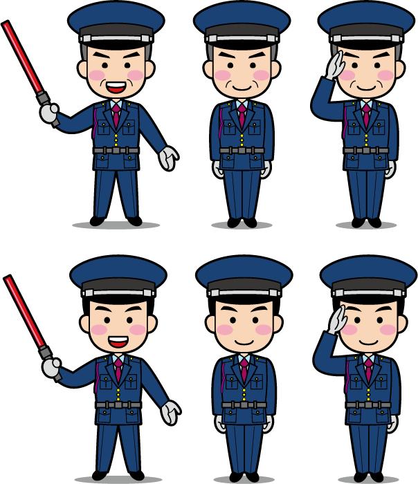 フリーイラスト 6種類の男性警備員のセット