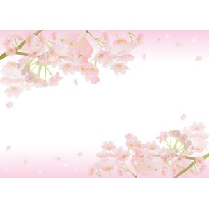 フリーイラスト, ベクター画像, EPS, 背景, フレーム, 上下フレーム, 植物, 花, 桜(サクラ), 花びら, ピンク色, 春