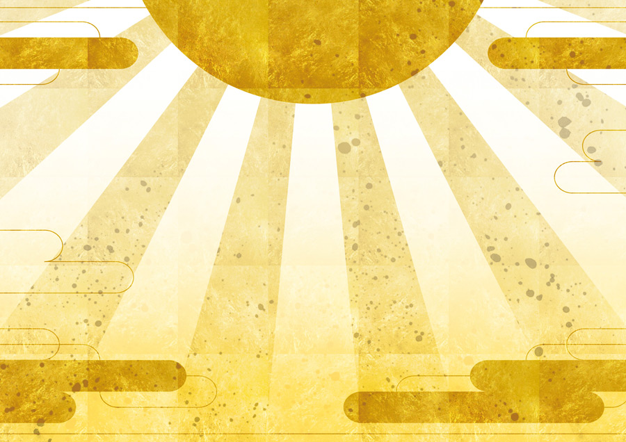 フリーイラスト 金色の初日の出の背景