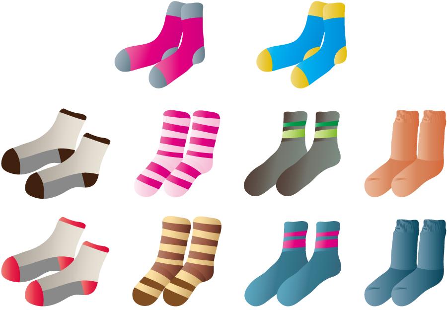 フリーイラスト 10種類の冬用靴下のセット