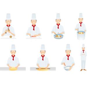 フリーイラスト, ベクター画像, AI, 人物, 老人, 祖父(おじいさん), 職業, 仕事, コック(シェフ), 調理, 包丁, フライパン, まな板, 麺棒, 泡だて器, 腕を組む, 寸胴鍋
