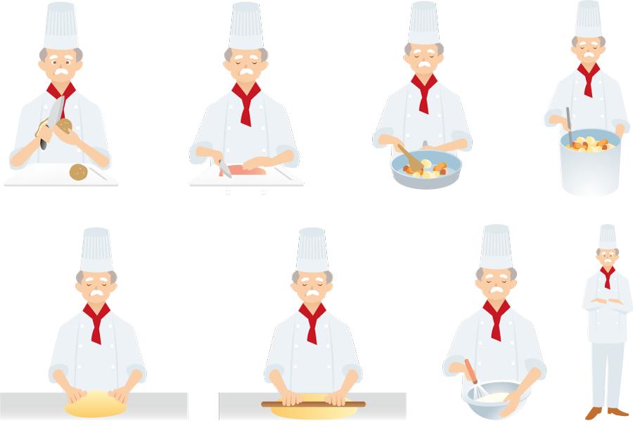 フリーイラスト 8種類の料理を作るシェフのセット