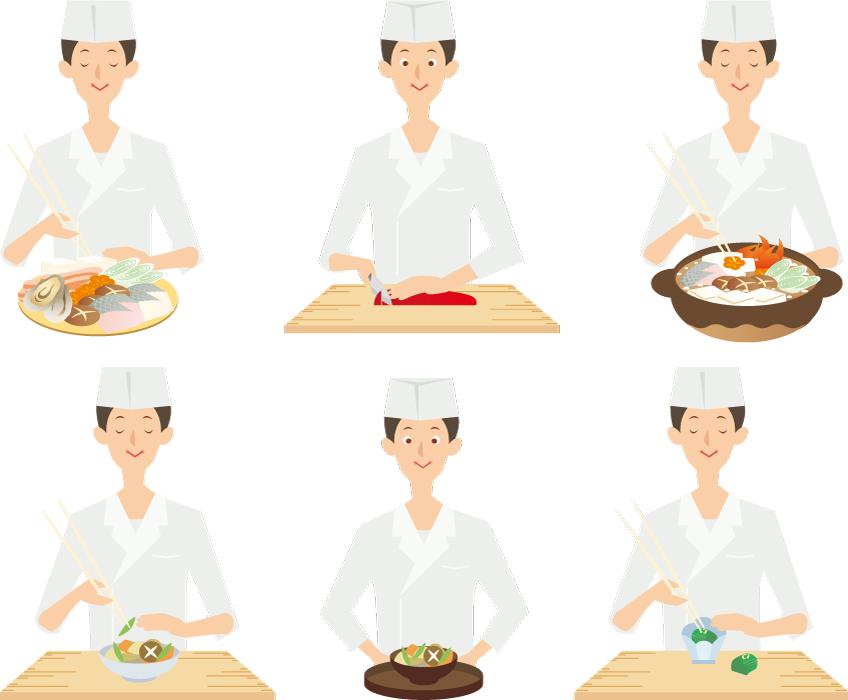 フリーイラスト 6種類の料理を作る板前のセット