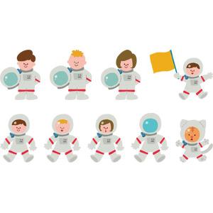 フリーイラスト, ベクター画像, AI, 人物, 子供, 男の子, 女の子, 職業, 宇宙飛行士, 宇宙服, 猫(ネコ)
