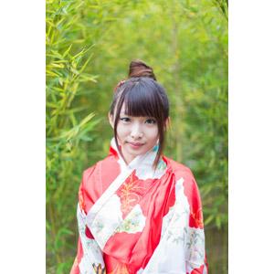 フリー写真, 人物, 女性, アジア人女性, 小花(00096), 中国人, 着物, 和服, 竹(タケ)