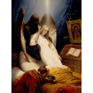 フリー絵画, オラース・ヴェルネ, 宗教画, 天使(エンジェル), 死, 指差す, 上を指す, 昇天, 祈る(祈り), 聖書
