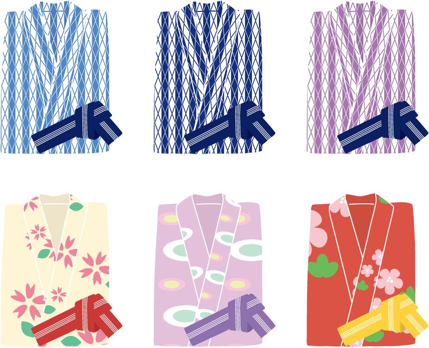 フリーイラスト 6種類の温泉旅館の浴衣のセット