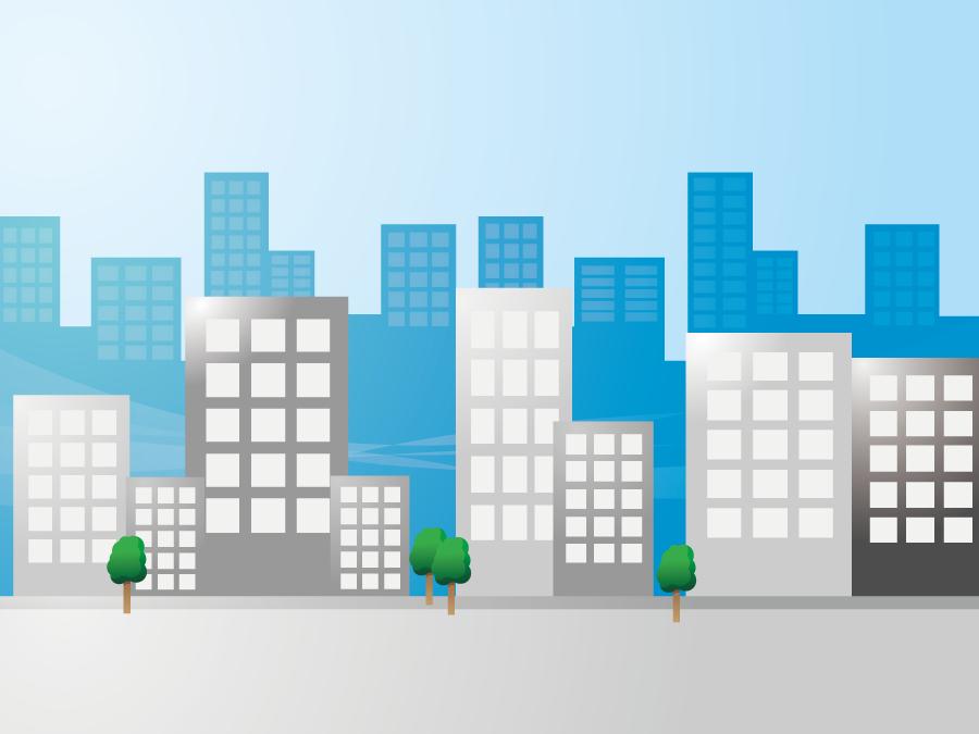 フリーイラスト オフィスビルの建ち並ぶビジネス街の風景