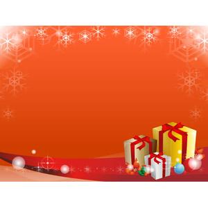 フリーイラスト, ベクター画像, AI, 背景, フレーム, 囲みフレーム, 年中行事, クリスマス, 12月, 雪の結晶, 冬, クリスマスプレゼント, オレンジ色, ポインセチア, クリスマスボール, セイヨウヒイラギ