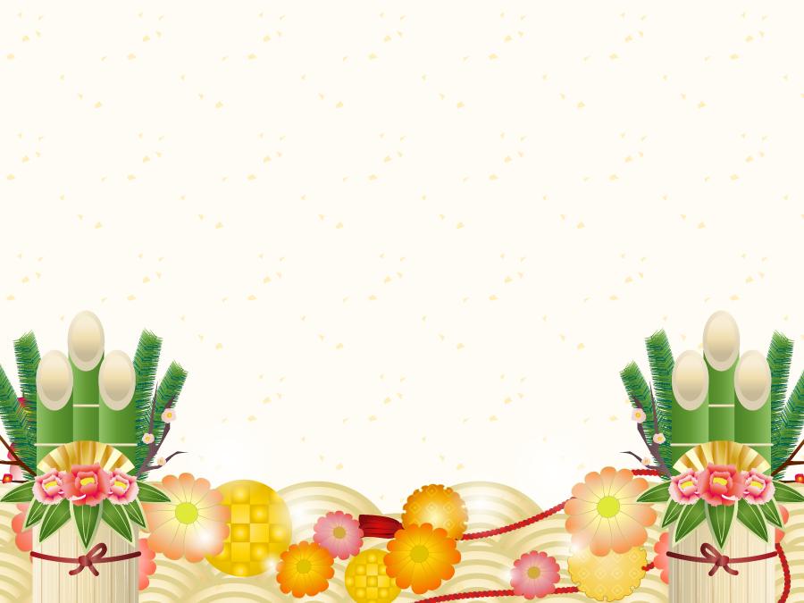 フリーイラスト 門松と青海波のお正月の背景