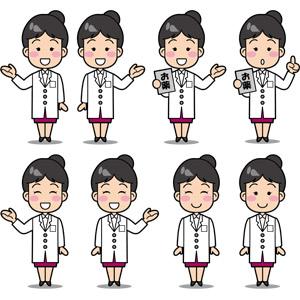 フリーイラスト, ベクター画像, EPS, 人物, 女性, 職業, 仕事, 医療, 薬剤師, 医薬品, 薬(クスリ), 案内する, 笑う(笑顔), ワンポイントアドバイス
