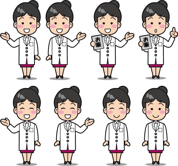 フリーイラスト 8種類の女性薬剤師のセット
