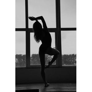 フリー写真, 人物, 女性, 外国人女性, レオタード, 後ろ姿, 踊る(ダンス), 片足を上げる, 窓辺, モノクロ