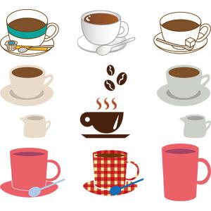 フリーイラスト, ベクター画像, AI, 飲み物(飲料), コーヒー(珈琲), コーヒーカップ, コーヒー豆, マグカップ