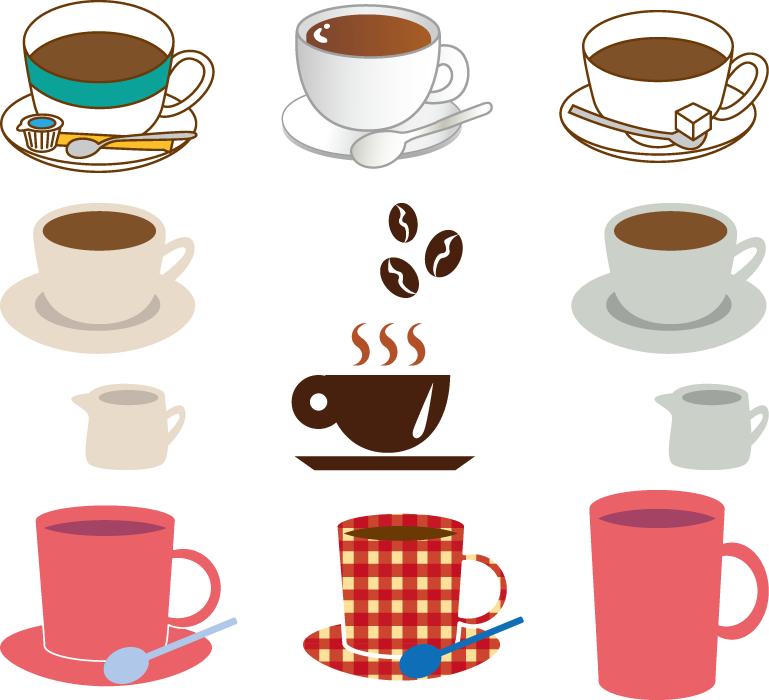 フリーイラスト 9種類のコーヒーのセット