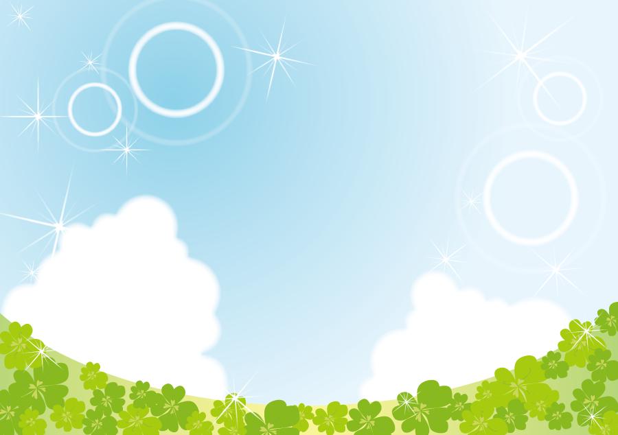 フリーイラスト 四つ葉のクローバーと青空の風景
