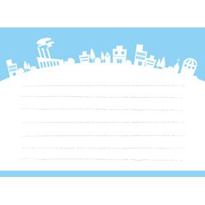 フリーイラスト, ベクター画像, EPS, 背景, 便箋(便せん), メッセージカード, 街(町), 街並み(町並み), 紙(ペーパー)