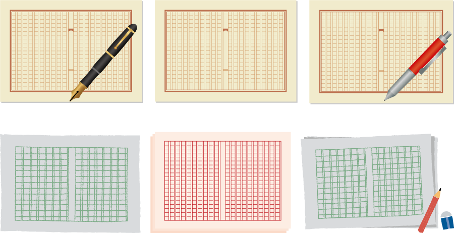 フリーイラスト 6種類の原稿用紙のセット