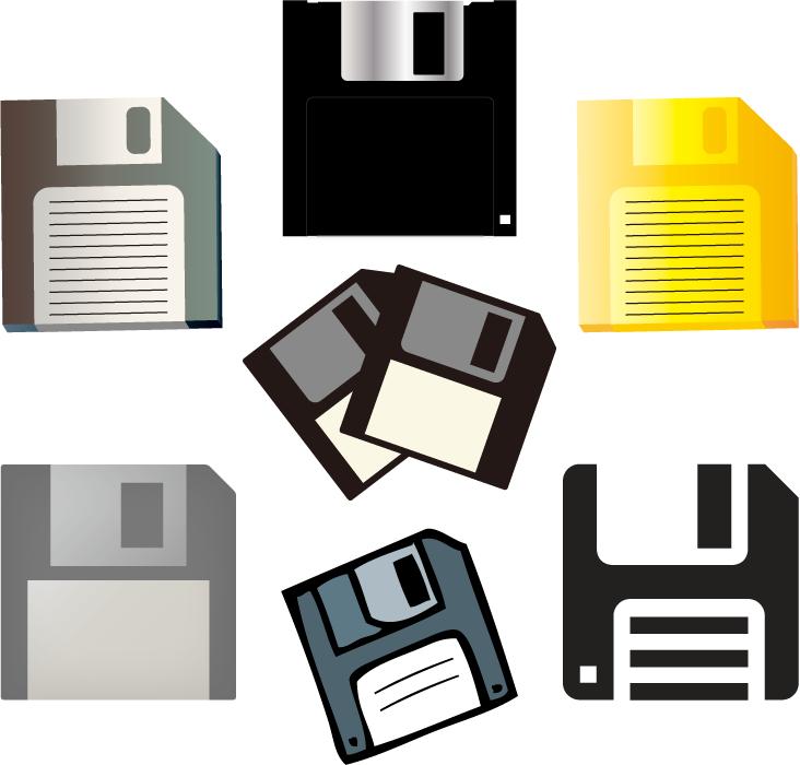 フリーイラスト 7種類のフロッピーディスクのセット