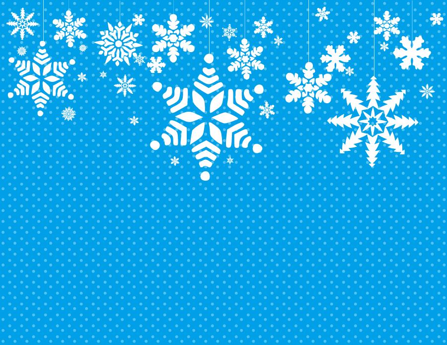 フリーイラスト 雪の結晶と水玉模様の背景