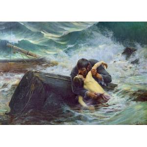 フリー絵画, アルフレッド・ギユ, 人物画, 親子, 父親(お父さん), 息子, キス(口づけ), 死, 別れ, 二人, 人と乗り物, 船, 嵐, 海難事故(難破), 海