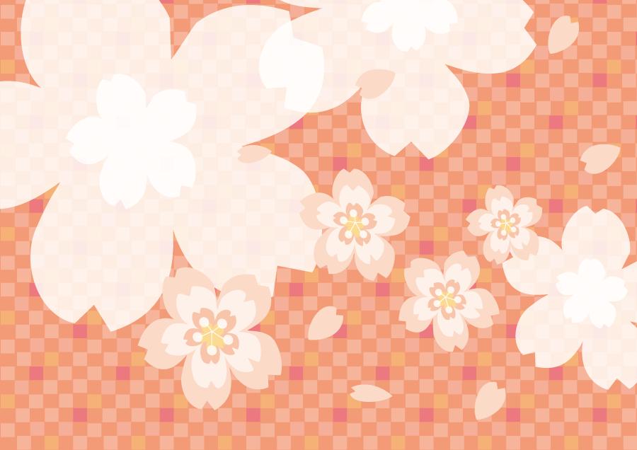 フリーイラスト 桜の花と市松模様の背景