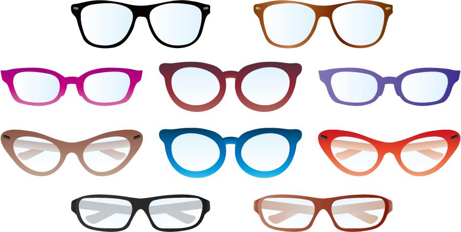 フリーイラスト 10種類の眼鏡のセット