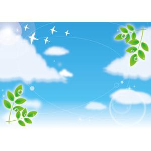 フリーイラスト, ベクター画像, EPS, 背景, 空, 青空, 雲, 植物, 葉っぱ, 新緑, 水滴(雫), 小鳥, エコロジー