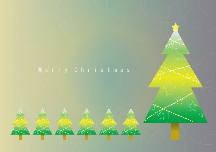 フリーイラスト クリスマスツリーのクリスマスカード