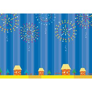 フリーイラスト, ベクター画像, AI, 背景, 花火, 打ち上げ花火, 街(町), 街並み(町並み), 夜, 夜空, 夏