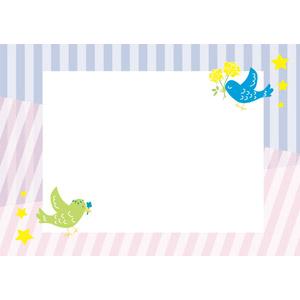 フリーイラスト, ベクター画像, AI, 背景, フレーム, 囲みフレーム, メッセージカード, 動物, 鳥類, 鳥(トリ), 小鳥, 縞模様(ストライプ)