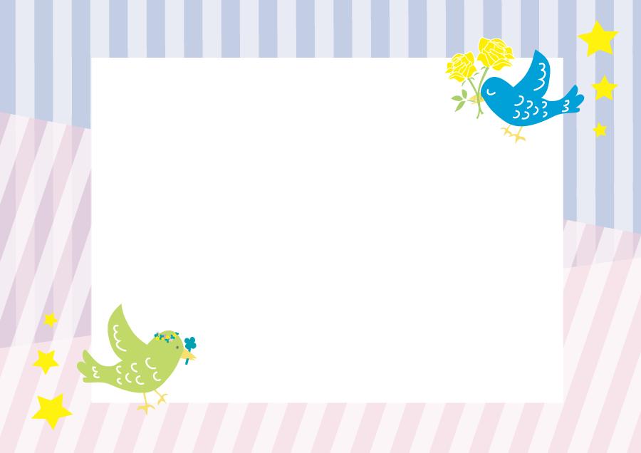 フリーイラスト 花を咥える鳥の飾り枠