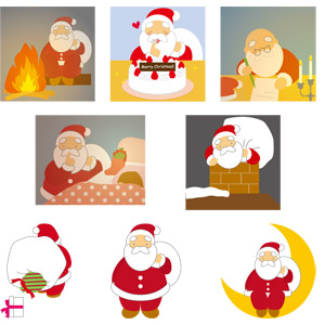 フリーイラスト, ベクター画像, AI, 年中行事, クリスマス, 12月, サンタクロース, 焚き火, クリスマスケーキ, 書く, しーっ(静かに), 三日月