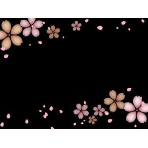フリーイラスト, ベクター画像, AI, 背景, フレーム, 上下フレーム, 植物, 花, 桜(サクラ), 春, 花びら