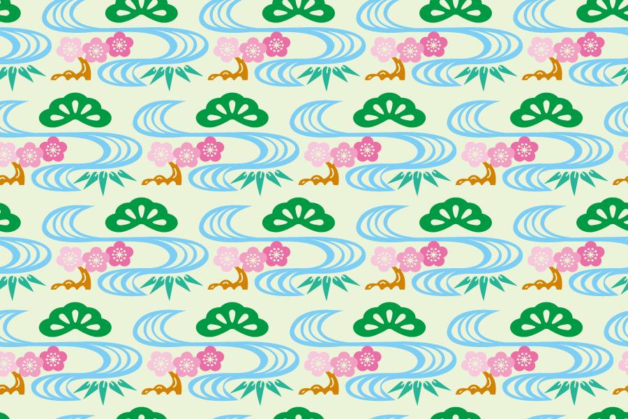 フリーイラスト 松竹梅と川の和柄背景