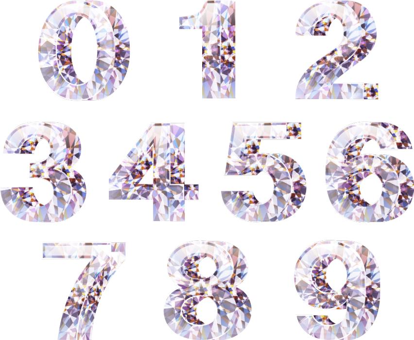 フリーイラスト ダイヤモンドの数字のセット