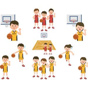 フリーイラスト, ベクター画像, AI, スポーツ, 球技, バスケットボール, バスケット選手, 人物, 少年, 少女, バスケットリング, バスケットコート, ガッツポーズ, 学生(生徒), 部活動, 学校