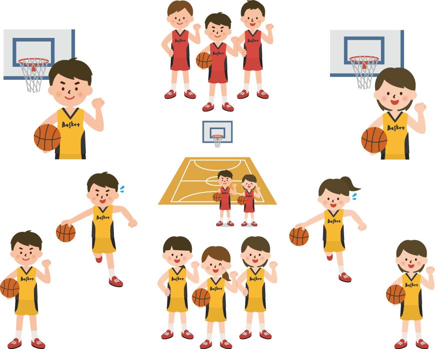 フリーイラスト 9種類のバスケ部の男子と女子のセット