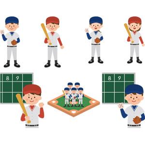 フリーイラスト, ベクター画像, AI, スポーツ, 球技, 野球(ベースボール), 野球選手, ピッチャー(投手), バッター(打者), 野球ボール, バット, 野球グラウンド, スコアボード, 人物, 少年, 少女, 学生(生徒), 部活動, 学校